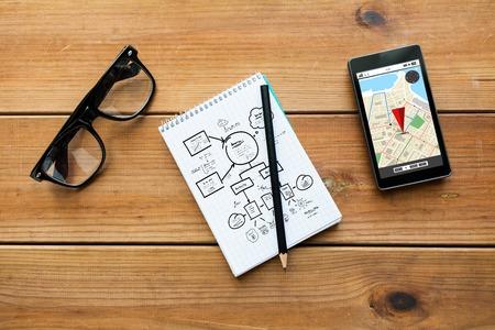 navigatie, reis, plaats en technologisch concept - close-up van de regeling tekening in blocnote met potlood, gps navigtor kaart op smartphone-scherm en bril op houten tafel Stockfoto