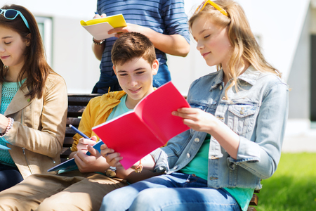 education, high school and people concept - group of happy teenage students with notebooks learning at campus yard Stock Photo