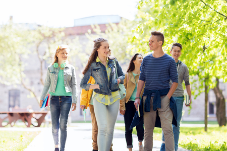 outoors: education, high school, communication and people concept - group of happy teenage students walking outoors