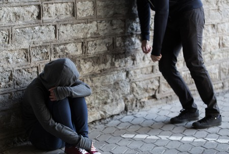 junky: substance abuse, addiction, people and drug use concept - close up of addicts on street Stock Photo