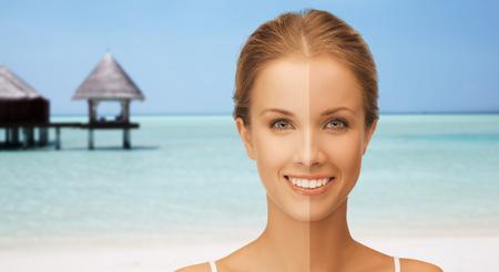 Menschen, Sonnen, Reisen und Sommerferien Konzept - in der Nähe mit einem halben Gesicht gebräunt über exotischen tropischen Strand mit Bungalow Hintergrund der schönen lächelnden Frau oben Standard-Bild