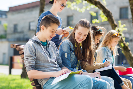 assignments: education, high school and people concept - group of happy teenage students with notebooks learning at campus yard Stock Photo
