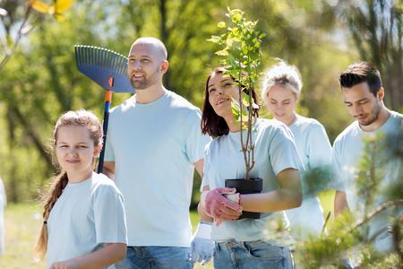 el voluntariado, la caridad, la gente y el concepto de ecología - grupo de voluntarios felices con los plantones de árboles y rastrillo caminando en el parque