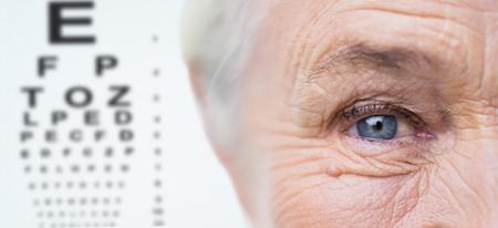 Alter, Vision, Sehkraft und Menschen Konzept - Nahaufnahme von Senior Frau Gesicht und Auge über Diagramm Hintergrund