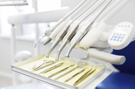 stomatological: dentistry, medicine, medical equipment and stomatology concept - close up of dental instruments