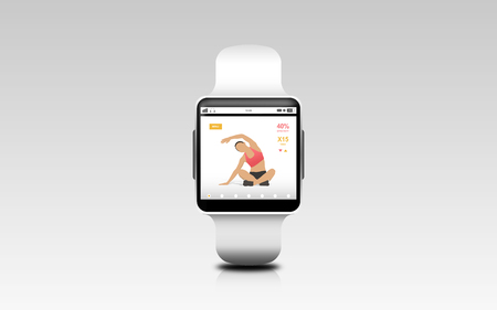 sport object: modern technology, sport, object and media concept - illustration of black smart watch with fitness app on screen over gray background