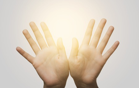 body parts: gesture, people and body parts concept - close up of two hands showing palms and fingers