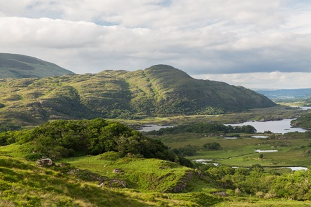 irish countryside: nature and landscape concept - view to river valley at Killarney National Park in ireland
