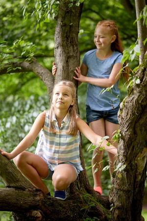 la amistad, la infancia, el ocio y el concepto de la gente - dos niñas felices subiendo por el árbol y que se divierte en el parque de verano