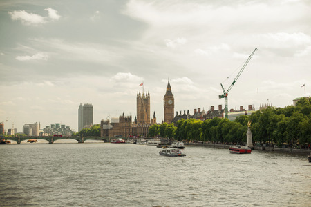 thames: England, London - Big Ben, the Houses of Parliament and Westminster bridge over Thames river