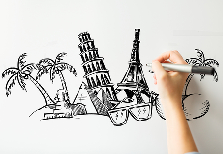 graphic arts: people, travel, tourism, summer vacation and graphic arts concept - close up of hand with marker drawing drawing touristic landmarks sketch on white board or paper
