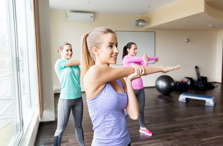 women sport: fitness, sport, training, exercising and people concept - group of women working out in gym