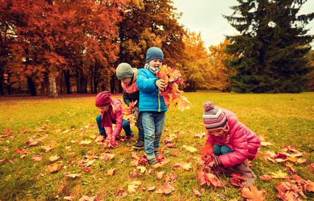 field maple: childhood, leisure, autumn, friendship and people concept - group of children collecting leaves in park