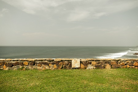 costal: travel, tourism, seascape and summer holidays concept - view to sea or ocean on Sri Lanka