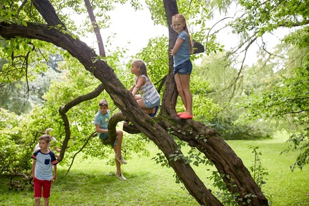 friendship, childhood, leisure and people concept - group of happy kids or friends climbing up tree and having fun in summer park Stockfoto