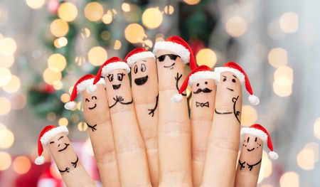 Family, Holidays, Christmas And Body Parts Concept - Close Up ...