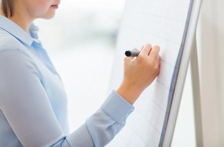 bureau, affaires, les gens et le concept de l'éducation - close up de la femme avec l'écriture de marqueur ou quelque chose de dessin sur flip chart