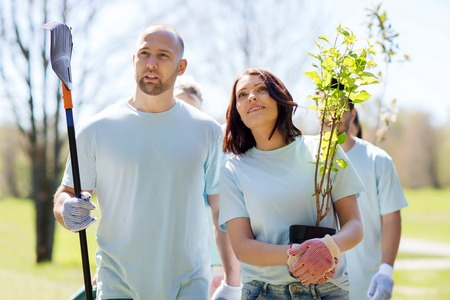 selfless: volunteering, charity, people and ecology concept - group of happy volunteers with tree seedlings and rake walking in park