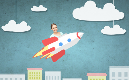 rockets: education, startup, development and people concept - happy young woman or teen student girl flying on rocket above cartoon city