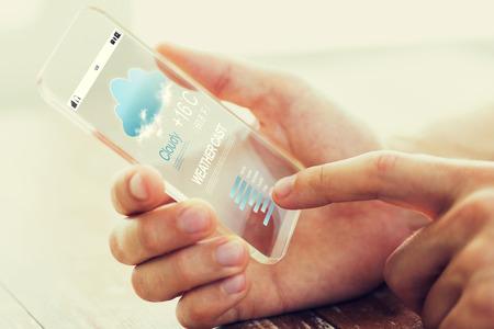 concepto de clima fundido, tecnología y personas - cerca de la mano masculina smartphone transparente con elenco de meteo