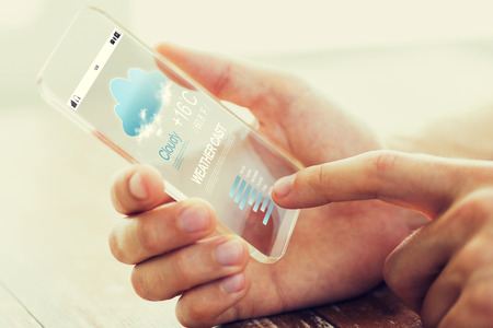 meteorological: weather cast, technology and people concept - close up of male hand holding transparent smartphone with meteo cast