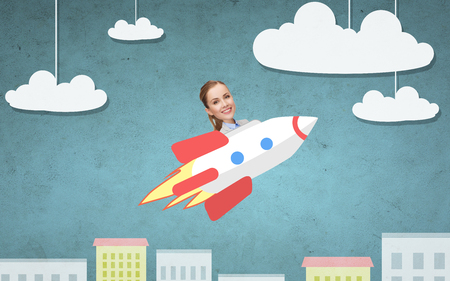 flying woman: business, startup, development and people concept - businesswoman flying on rocket above cartoon city