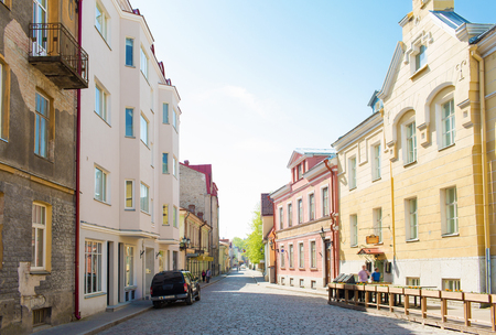 european culture: travel, tourism and european architecture concept - old town street in tallinn city in estonia
