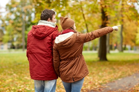 pointing: love, relationships, season and people concept - happy young couple walking in autumn park and pointing finger to something