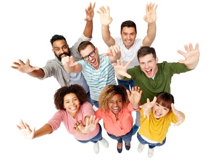 multiracial: diversity, race, ethnicity, success and people concept - international group of happy smiling men and women celebrating victory over white