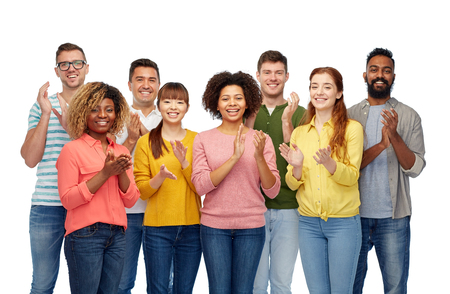 diversity, race, ethnicity and people concept - international group of happy smiling men and women over white Stock Photo - 66189500