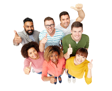 decent: diversity, race, ethnicity and people concept - international group of happy smiling men and women showing thumbs up over white