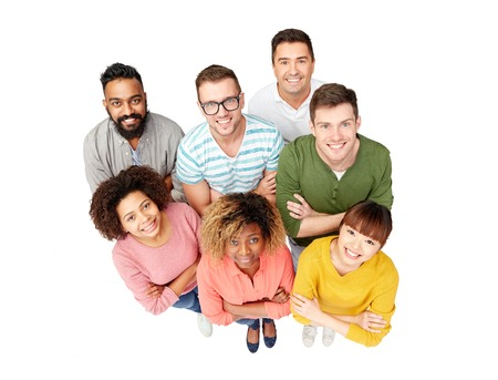 diversity, race, ethnicity and people concept - international group of happy smiling men and women over white