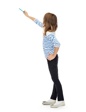 education, people and childhood concept - girl pointing marker at something invisible over white
