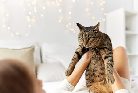comfort: pets, comfort, christmas, winter and people concept - young woman with cat lying in bed at home