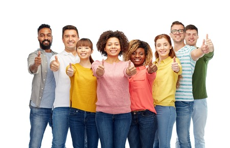 diverse family: diversity, race, ethnicity and people concept - international group of happy smiling men and women showing thumbs up over white