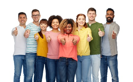 latin american ethnicity: diversity, race, ethnicity and people concept - international group of happy smiling men and women showing thumbs up over white