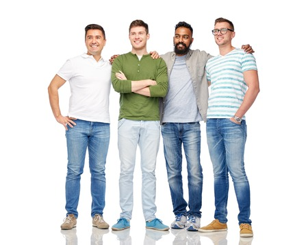 friendship, diversity, ethnicity and people concept - international group of happy smiling men over white