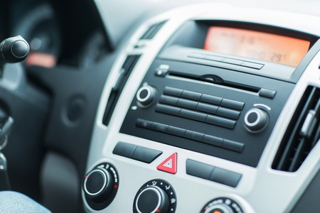 onboard: close up of car dashboard or onboard computer