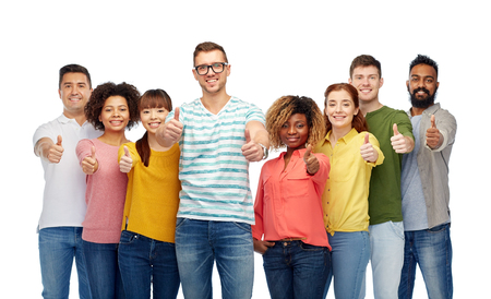 diverse family: international group of people showing thumbs up Stock Photo
