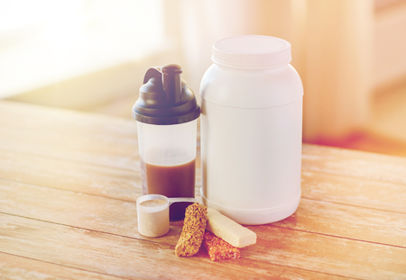 additive: close up of protein food and additives on table Stock Photo