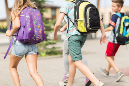 groep van gelukkige basisschool leerlingen loopt