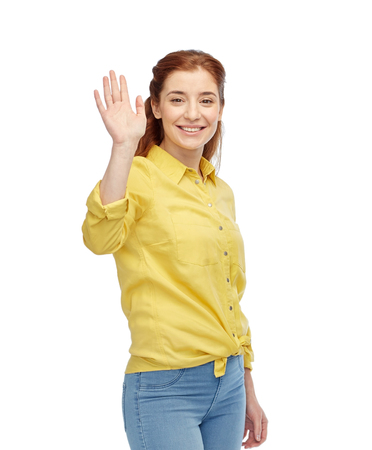 happy smiling woman waving hand over white