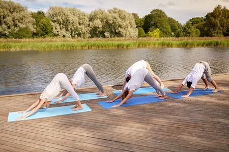 dog pose: group of people making yoga dog pose outdoors