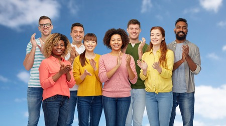 international group of happy smiling people Stock Photo