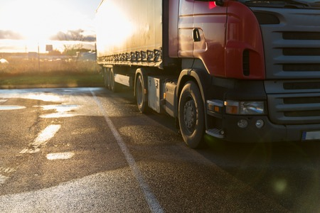 parking facilities: close up of truck on parking Stock Photo