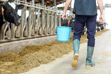 牛舎の酪農場の上を歩いてのバケツを持つ男