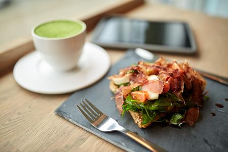 ham salad with matcha green tea at restaurant