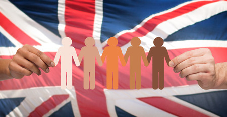 pictogram people: hands holding people pictogram over english flag Stock Photo