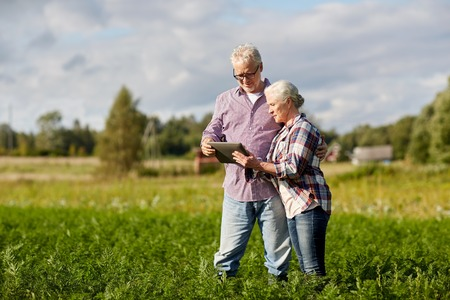 happy senior couple with tablet pc at summer farm