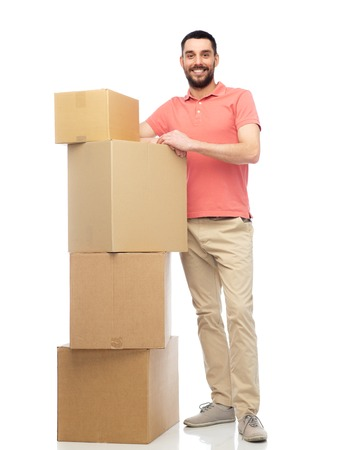 deliverer: delivery, moving, people and logistics concept - happy man with cardboard boxes